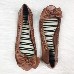 [CATO] Peep Toe Braided Ballet Flats with Bow